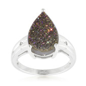 Titanium Purple Glitter Quartz Silver Ring