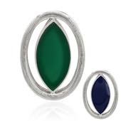 Green Chalcedony Silver Pendant (MONOSONO COLLECTION)
