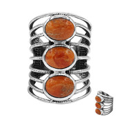 Kingman Orange Mojave Turquoise Silver Ring