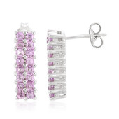 Unheated Ceylon Purple Sapphire Silver Earrings