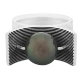 Tahitian Pearl Silver Ring (MONOSONO COLLECTION)