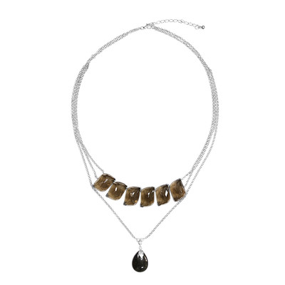 Tourmalinated Quartz Silver Necklace