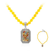 Yellow Agate Silver Necklace (Dallas Prince Designs)