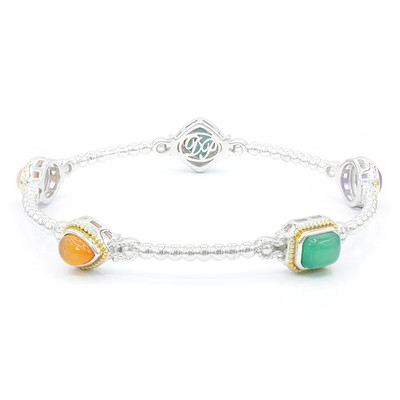 Green Agate Silver Bangle (Dallas Prince Designs)