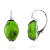 Colombian green Amber Silver Earrings