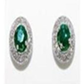 14K Green Diamond Gold Earrings