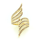 9K Red Cognac Diamond Gold Ring