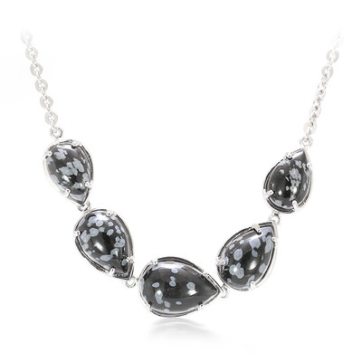Snowflake Obsidian Silver Necklace