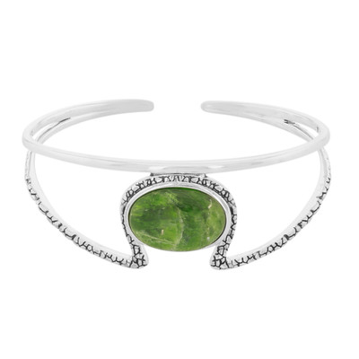 Russian Diopside Silver Bangle