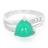 Green Chalcedony Silver Ring