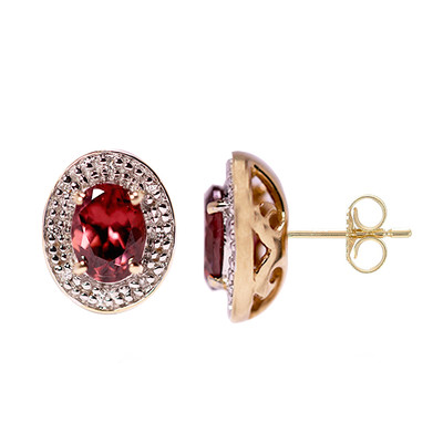 14K Pink Zircon Gold Earrings (Lance Fischer)