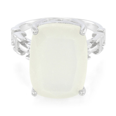 White Moonstone Silver Ring