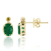 14K Zambian Emerald Gold Earrings