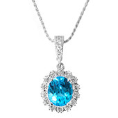 Swiss Blue Topaz Silver Necklace (Memories by Vincent)
