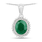 Emerald Colour Beryl Silver Necklace