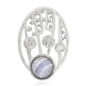 Blue Lace Agate Silver Pendant (MONOSONO COLLECTION)