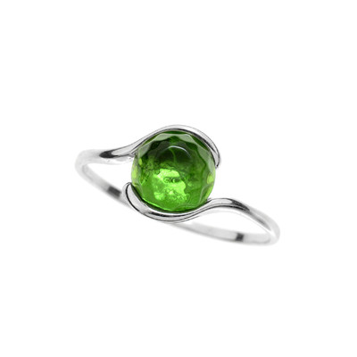 Colombian green Amber Silver Ring