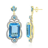 14K Swiss Blue Topaz Gold Earrings (AMAYANI)