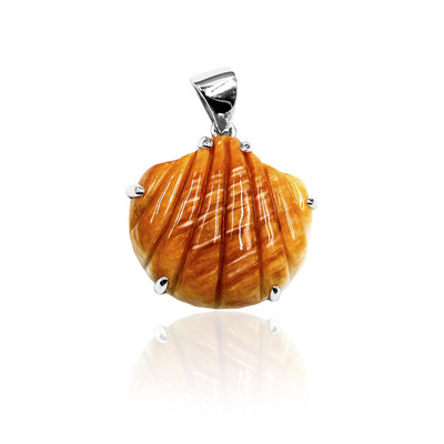 Orange Spiny Oyster Shell Silver Pendant