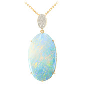 18K Lightning Ridge Black Opal Gold Necklace