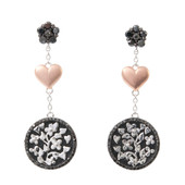 Black Diamond Silver Earrings