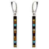 Mixed Gemstones Silver Earrings