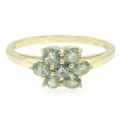 Unheated Green Sapphire Silver Ring