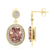 18K Pink Zircon Gold Earrings