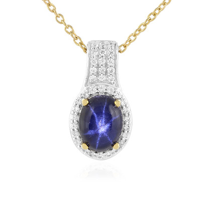 Blue Star Sapphire Silver Necklace
