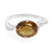 Cognac Quartz Silver Ring