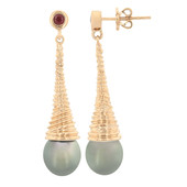 10K Tahitian Pearl Gold Earrings (M de Luca)