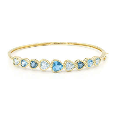 Swiss Blue Topaz Silver Bangle