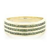 9K Emerald Green Diamond Gold Ring