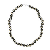 White Black Matrix Agate Silver Necklace