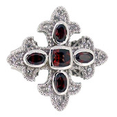 Mozambique Garnet Silver Ring (Dallas Prince Designs)