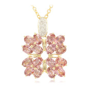 18K Unheated Padparadscha Sapphire Gold Necklace