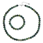 Moss Agate Silver Set