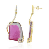 14K Bi Colour Tourmaline Gold Earrings