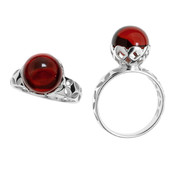 Colombian red Amber Silver Ring