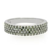 Forest Green Diamond Silver Ring (Cavill)