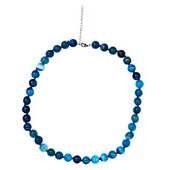 Aqua Blue Agate Silver Necklace