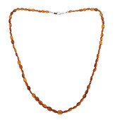 Hessonite Silver Necklace