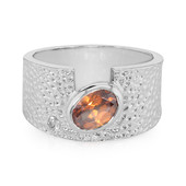 Orange Zircon Silver Ring