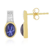 Blue Star Sapphire Silver Earrings