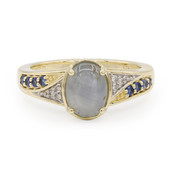 9K Silver Star Sapphire Gold Ring