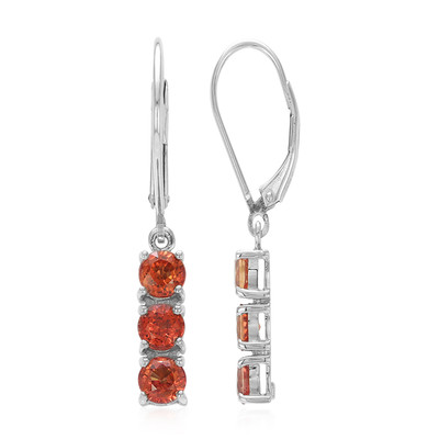 Sunset Ruby Silver Earrings