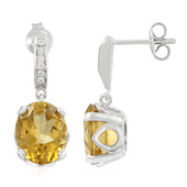 Cognac Quartz Silver Earrings