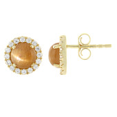 9K Cat´s Eye Sunstone Gold Earrings