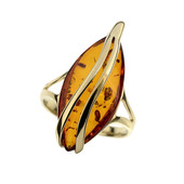 9K Baltic Amber Gold Ring