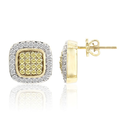 9K SI Canary Diamond Gold Earrings